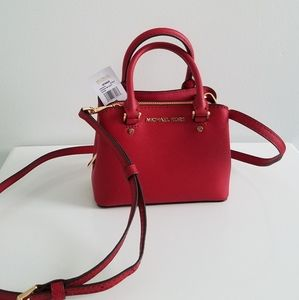 NWT Michael Kors Mini Red Leather Crossbody Bag
